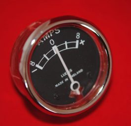 Ammeter (black face) made by Lucas after market products in England. 6V, marked 8-8, 1 1/2 inch diameter