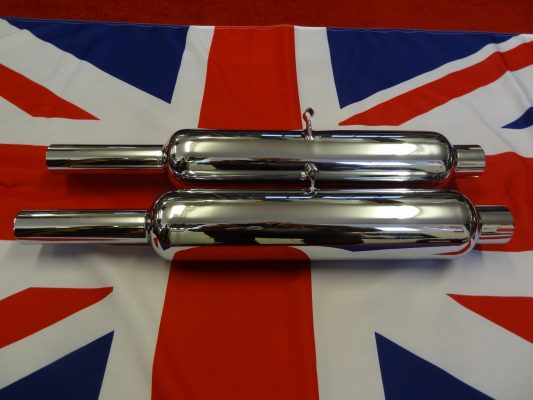 "Triumph Silencers Parallel with tubular bracket, 1 3/4"" for rigid machines (not 3T) Pair. Made in England, highest quality"