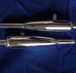 "Triumph Silencers Duplex frame models, Made in England, highest quality. ""60 - ""62. pair"