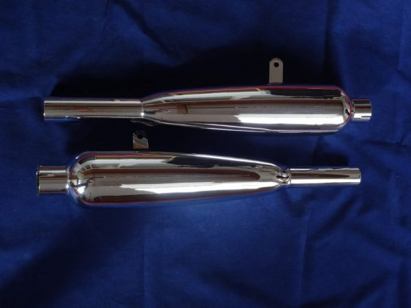 """Triumph Silencers Duplex frame models, Made in England, highest quality. """"60 - """"62. pair"""