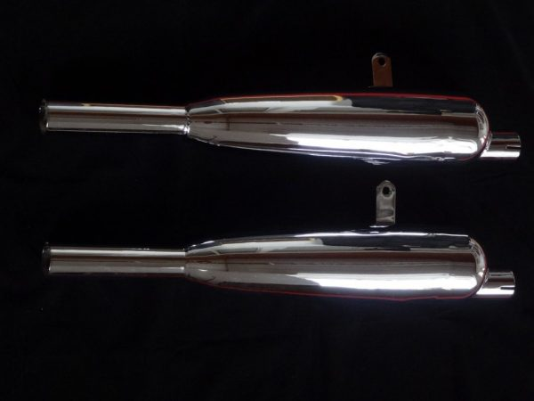 """Triumph Silencers """"C"""" range with offset inlet, 1 1/2"""" pair Made in England, highest quality"""