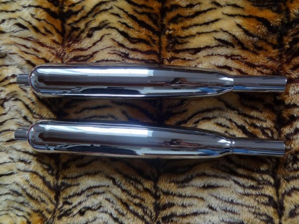 """Triumph Silencers  Early 650 unit, long version, 1 1/2"""" with 2 mounting bosses. pair. Made in England, highest quality"""
