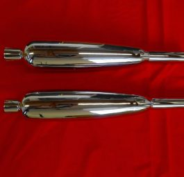 "Triumph ""TOGA"" made Silencers Later 650 unit, Made in England, highest quality, as SL5 but tapered and shorter. Pair"
