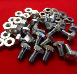 "Dome headed bolt and nut, plated, 1/4"" diameter x 1/2"", ideal for number plate and mudguard stay attachment. Each."