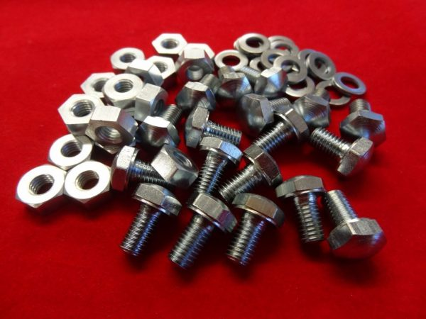 """Dome headed bolt and nut, plated, 1/4"""" diameter x 1/2"""", ideal for number plate and mudguard stay attachment. Each."""