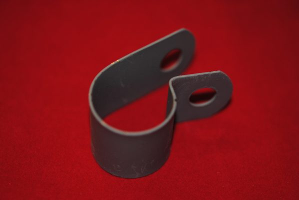 """Triumph Clip for rigid toolbox to lower frame tube (1""""D). Also for s/arm toolbox to rear frame tube"""
