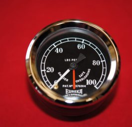 Triumph Eureka Tomey oil pressure gauge for tank panel. Made in England