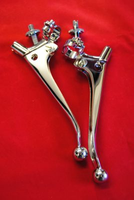 "Handlebar levers 7/8"" ball ends, sliding adjusters. Made to drawing, Pair"