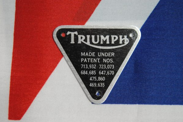 Triumph Patent plate - black on alloy