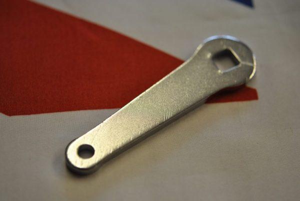 Triumph brake cam lever, chromed, slight crank towards brake plate, 37-1331