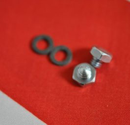 Triumph fork Stanchion oil filler plugs and washers, per pair.